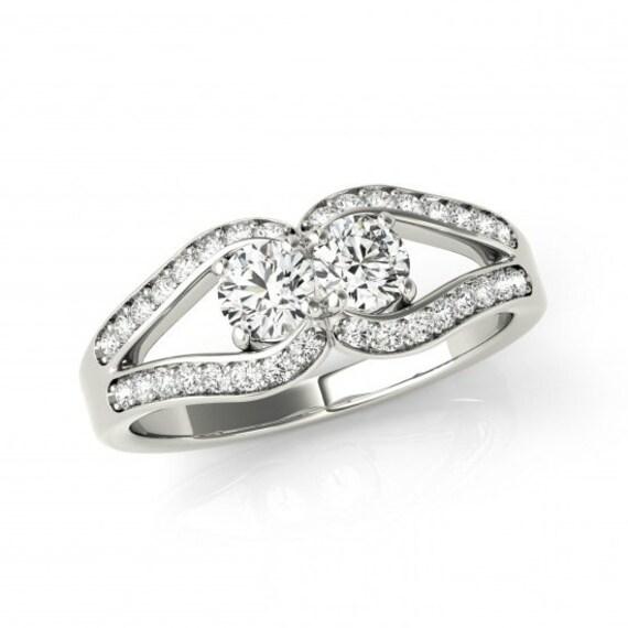 1 Carat Forever One Moissanite Love Knot Engagement Ring Etsy