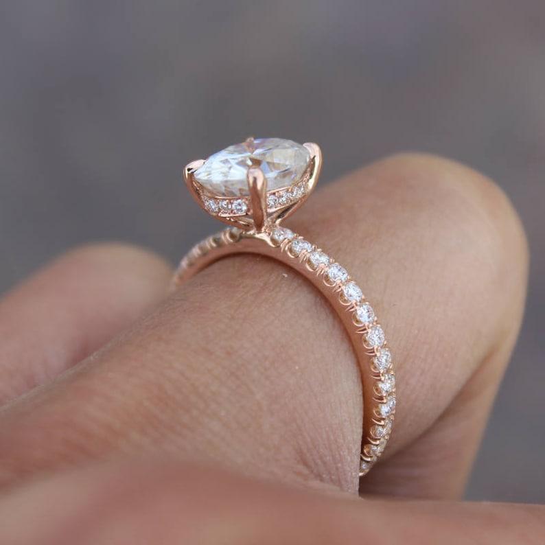 10ad313da240bd GIA 2.00 Carat Oval Diamond & Hidden Halo Engagement Ring 14k | Etsy