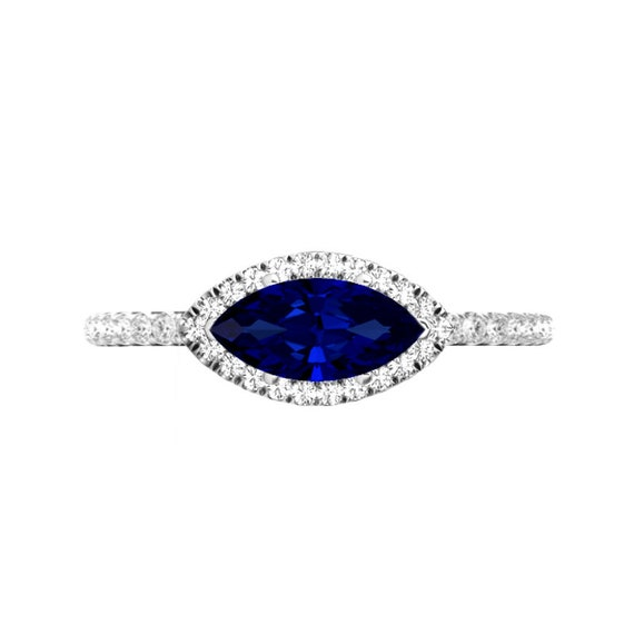 2.00 Ct Blue Sapphire and Diamond 14K Rose Gold Finish Russian Hoop Earrings
