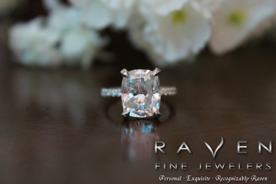 5 Carat Elongated Cushion Moissanite Diamond Pave Engagement Ring Hidden Halo Side Halo Diamond Prongs 14k 18k Or Platinum Pave Ring