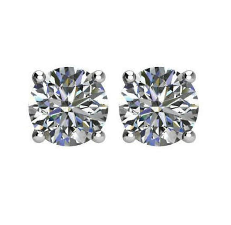 562fb573cb0a0 6.5mm (2 carats tw.) NEO Moissanite Diamond Cut Stud Earrings 14k White  Gold, 2 Carat Each, Moissanite Earrings, Anniversary Gifts for Women