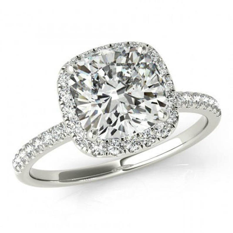 bd5a4a6117526 GIA 1.40 Carat Cushion Diamond & Halo Engagement Ring 14k White Gold,  Cushion Engagement Rings for Women, Cushion Diamond Rings