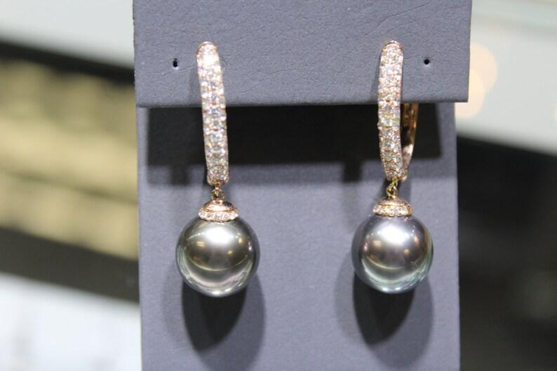 4dc6a91a0fd6 12.5 mm gris perla   diamante collar aretes 14k oro amarillo