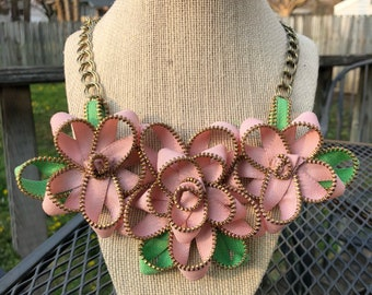 Pink Vintage Zipper Flower Necklace