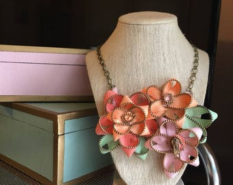 Vintage Zipper Flower Necklace