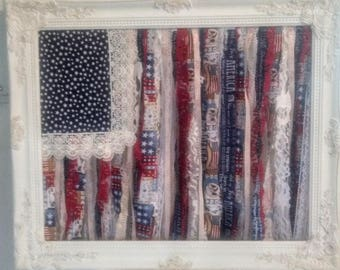 Framed flag, Tattered lace flag, Americana decor, country chic, rag flag wall art, patriotic decor, Boho gypsy, American flag, 4 th of July