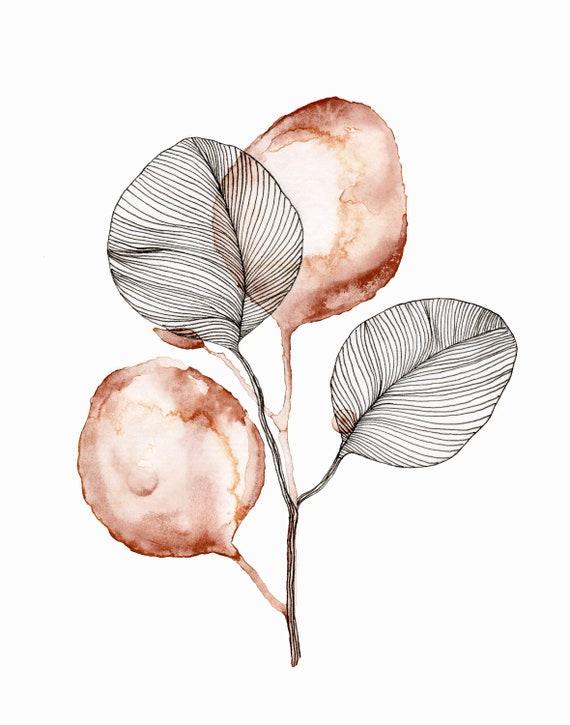 Eucalyptus watercolor line drawing print | Etsy