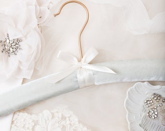 Velvet Hangers, Something Blue Wedding Hanger, Blush Velvet Wedding Hanger, Dusty Rose Bride Hanger, Velvet Bridal Dress Hanger, Emerald