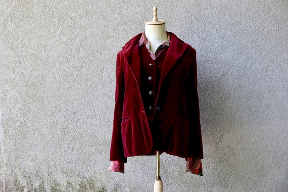 Velvet Vest and Jacket Set, Burgundy Velvet Jacket