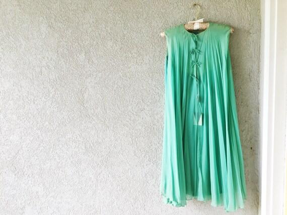 Vintage Nightgown, Silk Nightgown Vintage, Teal Vi