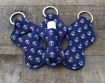 Nautical Chapstick Holder   Chapstick Keychain   Lip Balm Holder   Personalized   Monogram   Class Gift   Party Favors   Teacher Gift (039)