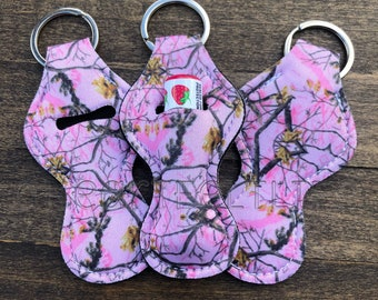 pink camo chapstick holder chapstick keychain lip balm holder personalized monogram teacher gift personalized bridal shower