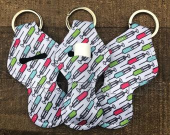 Syringe Chapstick Holder   Chapstick Keychain   Lip Balm Holder   Personalized   Monogram   Party Favors   Teacher Gift