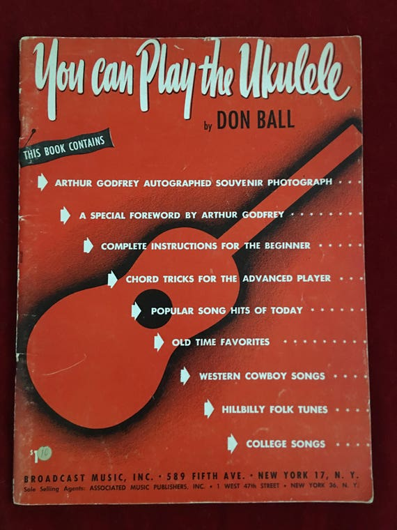 You Can Play The Ukulele By Don Ball 1950 Book Etsy