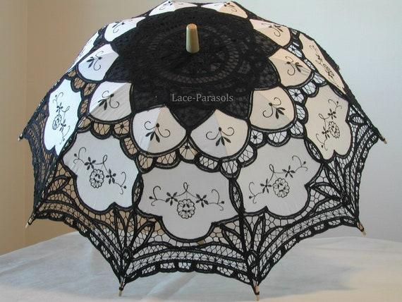 Black and White Battenburg Lace Parasol