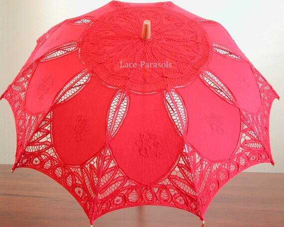 Lace Parasol - RED