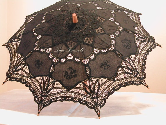 HALLOWEEN Theatre Accessory SMALL Photo Prop Table Centerpiece Black color Black Lace Parasol