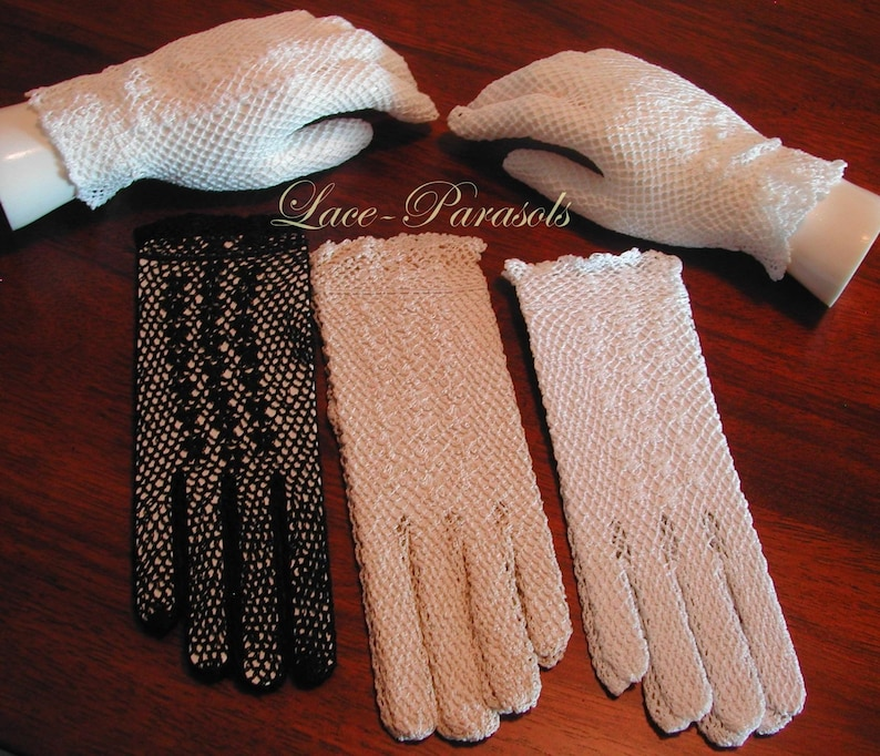 Vintage Style Gloves- Long, Wrist, Evening, Day, Leather, Lace Crochet gloves | Bridal Accessories | Vintage Wedding | Quinceanera | Theatre | Prom $17.00 AT vintagedancer.com