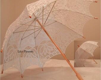 Wedding Parasol White Battenburg Lace