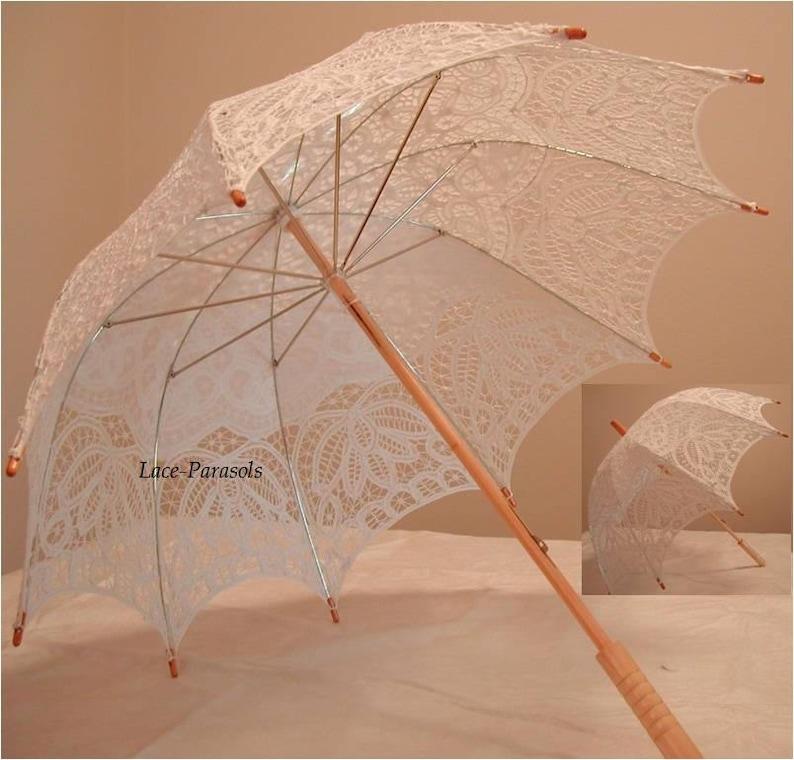 Wedding Parasol White Battenburg Lace image 0