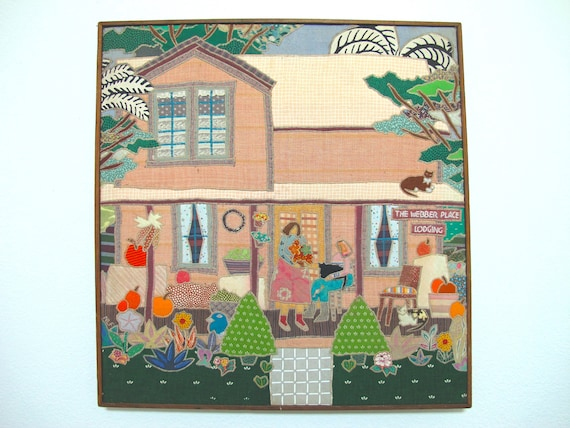 Nancy Freeman Quilted Art, Applique Quilt Work, Framed Quilted Wall  Hanging, Appliqued Napa Valley Artwork, Spring Patchwork Fabriscape