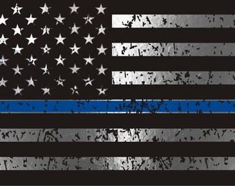 Blue Line Distressed Flag SVG