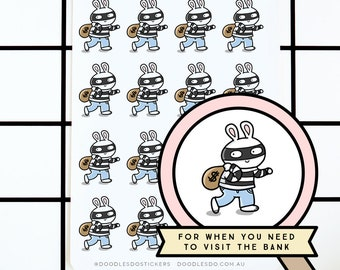 Doodlebun goes to the bank stickers - Functional Planner Sticker - Decorative bujo stickers