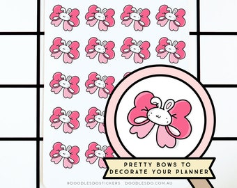 Doodlebun cute pink bow stickers - Functional Planner Sticker - Decorative bujo stickers