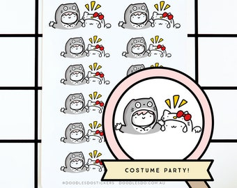 Pippa and Doodlebun costume party - Functional Planner Sticker -  bujo stickers