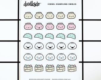 Dumplings Emoji stickers - 30 planner and tn decoration stickers for mood tracking
