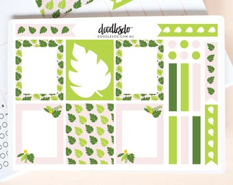 Tropical Green stickers - set of 22 stickers, planner boxes, planner checklists, color of the year 2017, tropical, monsterra, EC boxes