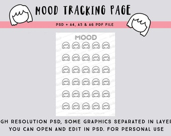 30-days Mood tracking page PSD file - Draw your own emoji and facial expression on the little blank faces - printable bullet journal page