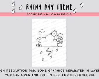 Rainy Day Theme PSD and PDF coloring page/ bullet journal cover page/planner dashboard