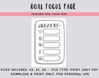 Goal focus page PDF file - focus on one task for each goal - printable bullet journal page - printable planner