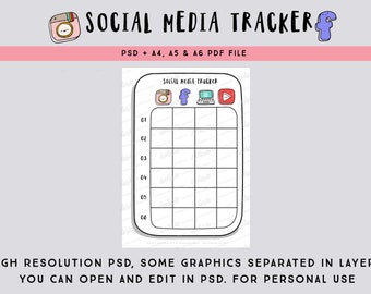 Social Media Tracker PSD file and Social media icons clipart -  Social media planner / printable bullet journal page