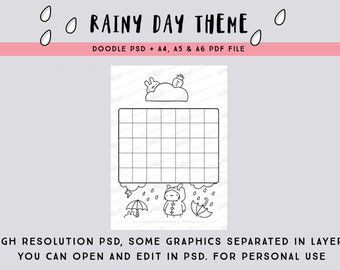 Rainy Day Theme PSD and PDF blank calendar page/ monthly planner / coloring page