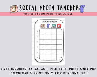 Social Media Tracker PDF printable page in A4, A5 and A6 -  Social media planner / printable bullet journal page