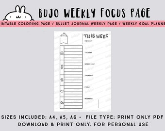 Bullet journal PDF week on one page planner / printable weekly planner / printable weekly focus page in A4, A5 and A6