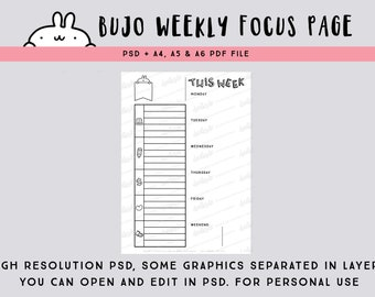 Bullet journal PSD file -  week on one page planner / printable weekly planner / printable weekly focus page