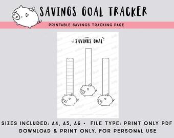 Savings Goal tracking page PDF file - Track your savings - printable bullet journal page - printable planner