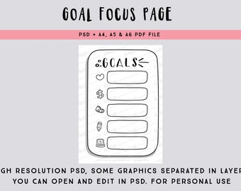 Goal focus page PSD file - focus on one task for each goal - printable bullet journal page - printable planner