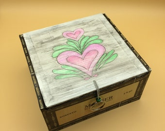 Cigar Box Jewelry Box (Pink Hearts)