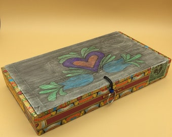 Cigar Box Jewelry Box (Heart and Blue Flowers)