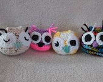 4 tiny crocheted owls