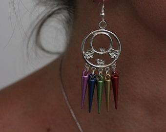 LGBT Hibiscus Silver Circle Rainbow Pride Earrings