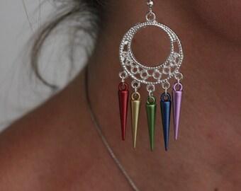 LGBT Silver Circle Rainbow Pride Earrings