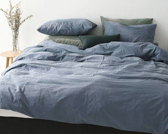 Navy Bio Washing Cotton Duvet Cover Soft Cotton Bedding Pigment Dyeing Queen / King / Cal.King / Twin / Full / Adult Kid Teen Duvet Cover