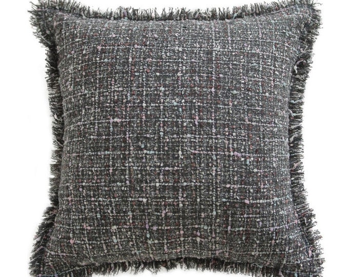 "Grey Tweed Square Throw Cushion Cover 18"" X 18"""
