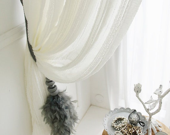 White Lace Sheer Curtain