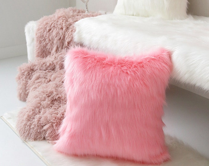 """Featured listing image: Pink Faux Fur Square Cushion Cover 18"""" X 18"""""""